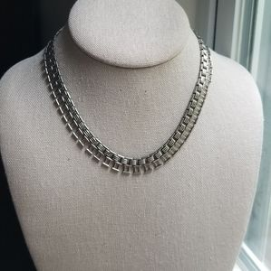 Vintage Silver Chain Link Choker Necklace